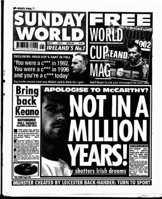 cover page of Sunday World (Dublin) published on May 26, 2002