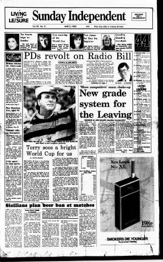cover page of Sunday Independent (Dublin) published on June 3, 1990