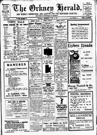 cover page of Orkney Herald, and Weekly Advertiser and Gazette for the Orkney & Zetland Islands published on June 3, 1931