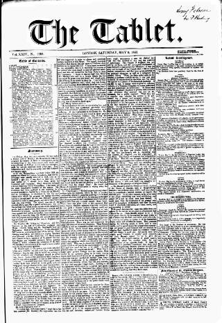 cover page of Tablet published on May 9, 1863
