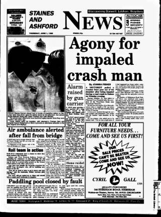 cover page of Staines & Ashford News published on June 1, 1995