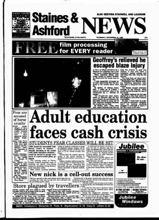 cover page of Staines & Ashford News published on November 19, 1998