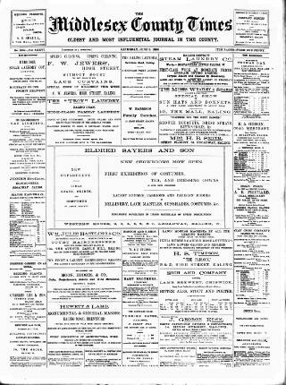 cover page of Middlesex County Times published on June 3, 1899