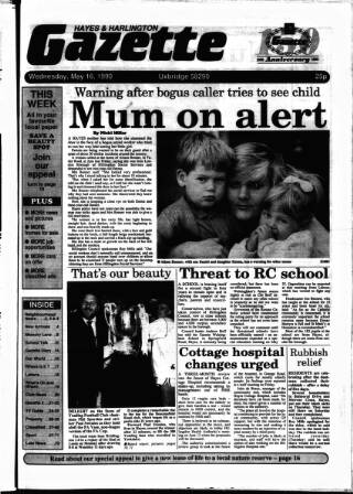cover page of Hayes & Harlington Gazette published on May 16, 1990