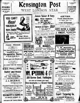 cover page of Kensington Post published on June 4, 1920