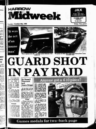 cover page of Harrow Midweek published on October 5, 1982