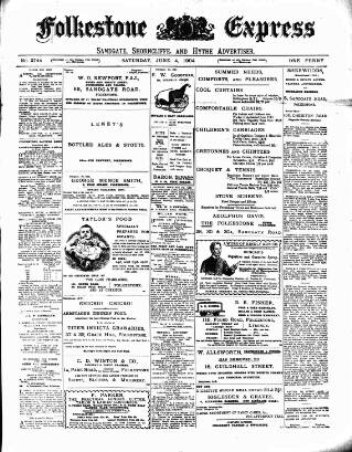 cover page of Folkestone Express, Sandgate, Shorncliffe & Hythe Advertiser published on June 4, 1904