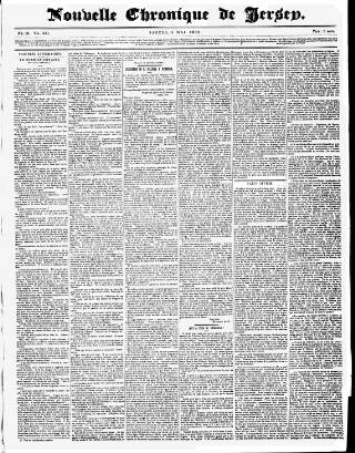 cover page of Nouvelle Chronique de Jersey published on May 5, 1866