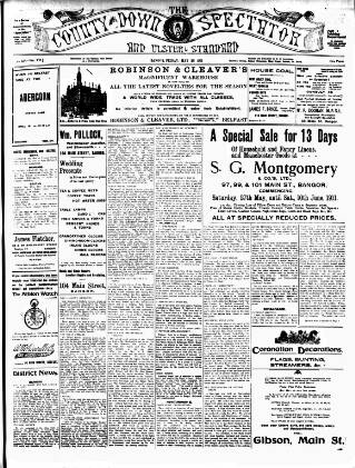 cover page of County Down Spectator and Ulster Standard published on May 26, 1911
