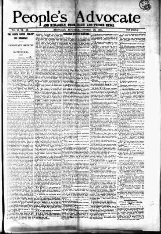 cover page of People's Advocate and Monaghan, Fermanagh, and Tyrone News published on October 20, 1894