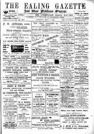 cover page of Ealing Gazette and West Middlesex Observer published on May 9, 1903