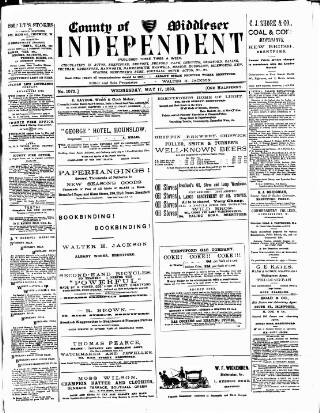cover page of Middlesex Independent published on May 17, 1893