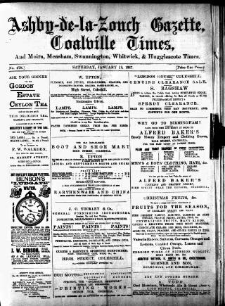 cover page of Ashby-de-la-Zouch Gazette published on January 22, 1887