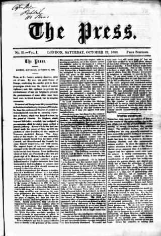 cover page of Press (London) published on October 22, 1853
