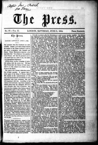 cover page of Press (London) published on June 3, 1854