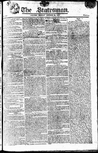cover page of Statesman (London) published on October 22, 1810