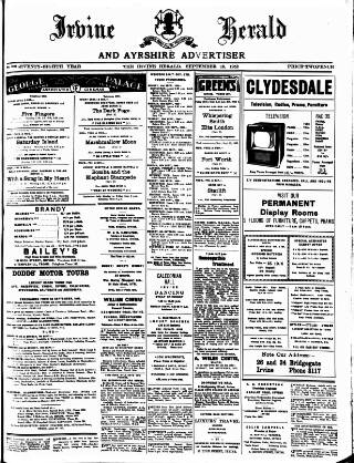 cover page of Irvine Herald published on September 19, 1952