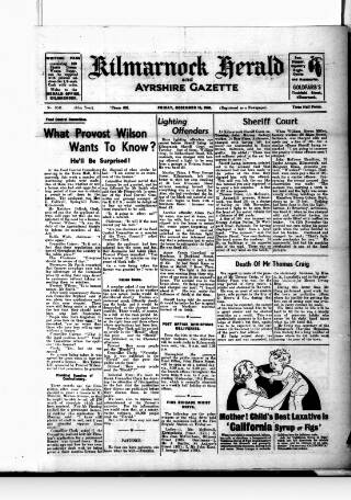cover page of Kilmarnock Herald and North Ayrshire Gazette published on December 13, 1940
