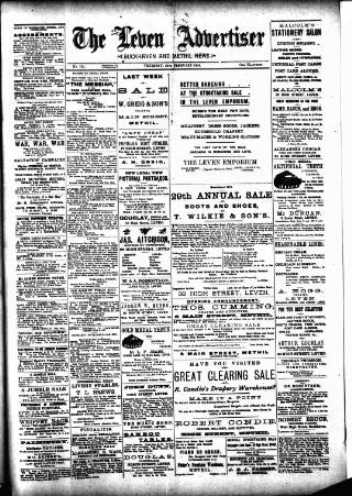 cover page of Leven Advertiser & Wemyss Gazette published on February 25, 1904