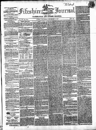 cover page of Fifeshire Journal published on December 2, 1847
