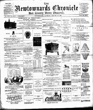 cover page of Newtownards Chronicle & Co. Down Observer published on January 28, 1899