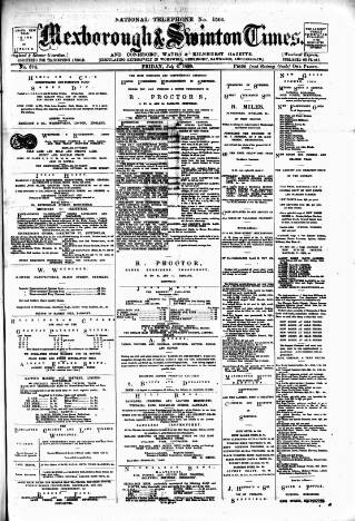 cover page of South Yorkshire Times and Mexborough & Swinton Times published on July 4, 1890
