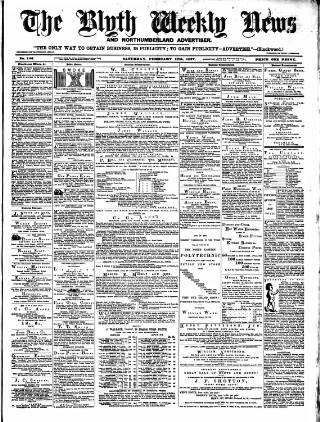 cover page of Blyth News published on February 17, 1877