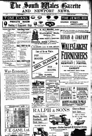 cover page of South Wales Gazette published on January 28, 1916