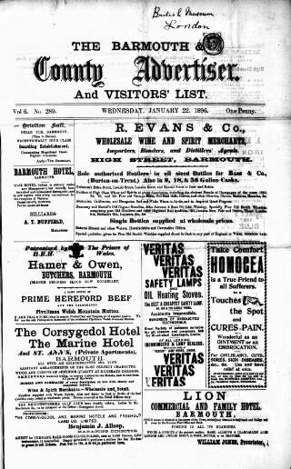 cover page of Barmouth & County Advertiser published on January 22, 1896
