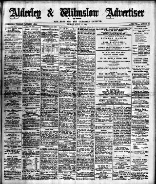 cover page of Alderley & Wilmslow Advertiser published on July 10, 1903