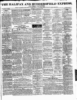 cover page of Halifax Express published on January 28, 1836