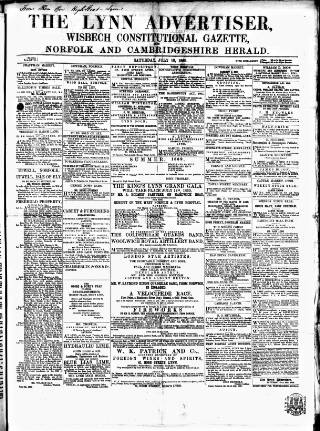 cover page of Lynn Advertiser published on July 10, 1869