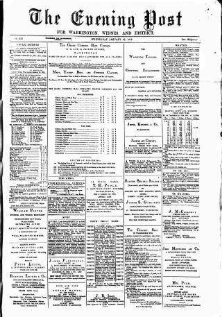 cover page of Warrington Evening Post published on January 22, 1879