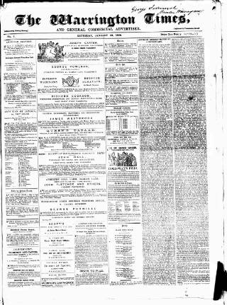 cover page of Warrington Times published on January 29, 1859
