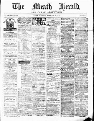 cover page of Meath Herald and Cavan Advertiser published on February 27, 1875