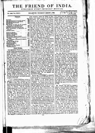 cover page of Friend of India and Statesman published on March 1, 1866