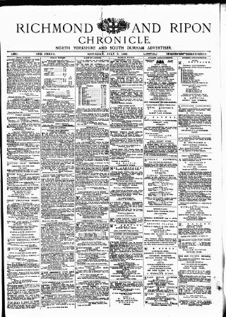 cover page of Richmond & Ripon Chronicle published on July 2, 1881