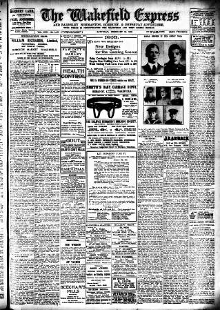 cover page of Wakefield Express published on February 16, 1918