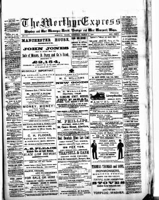 cover page of Merthyr Express published on March 1, 1890