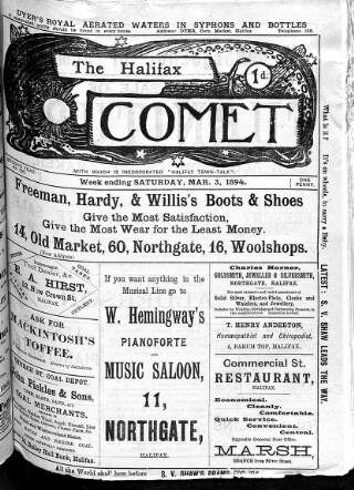 cover page of Halifax Comet published on March 3, 1894
