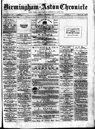 cover page of Birmingham & Aston Chronicle published on September 27, 1884