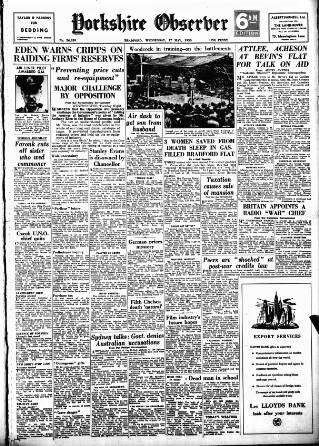 cover page of Bradford Observer published on May 17, 1950