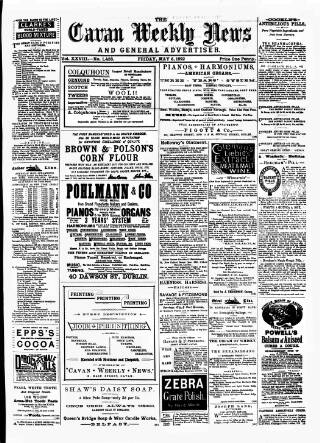 cover page of Cavan Weekly News and General Advertiser published on May 6, 1892