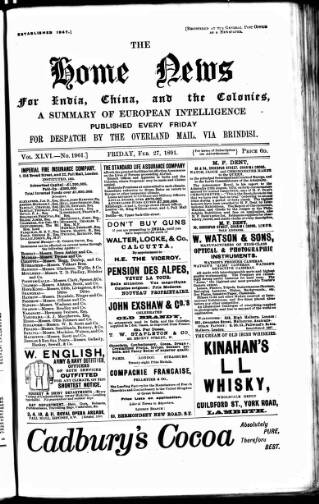 cover page of Home News for India, China and the Colonies published on February 27, 1891