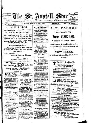 cover page of St. Austell Star published on March 3, 1893